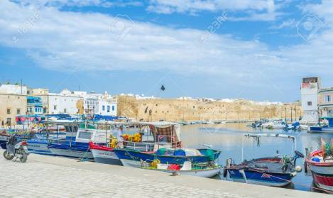 BIZERTE, TUNISIA - SEPTEMBER 4, 2015: The fishing is the main work of the most people living in coastal town, on September 4 in Bizerte.